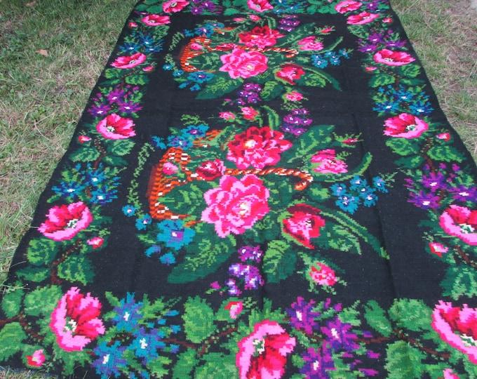 Bessarabian Kilim. Vintage Moldovan Kilim,Floor Rugs/ Handmade. Floral Rugs Carpets, Eco-Friendly. Len