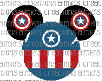 Captain America Inspired Digital Mouse Ears