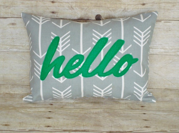 Hello Pillow - cover for a 12 x 16 insert- Lumbar pillow - grey arrows - green hello - word pillow - grey and greenpillow