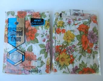 "Vintage Dura-Wear 3 Piece Plastic Drapes, Orange Floral Curtains, 108"" x 84"" with Valance"