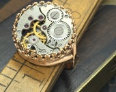 Steampunk ring - jeweled watch movement handcrafted artistic steam punk jewelry -The Victorian Magpie