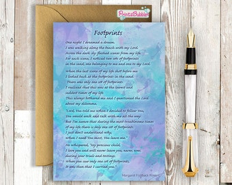 Printable Greeting Card - Footprints in the Sand poem - Watercolour 5x7 - Instant Download