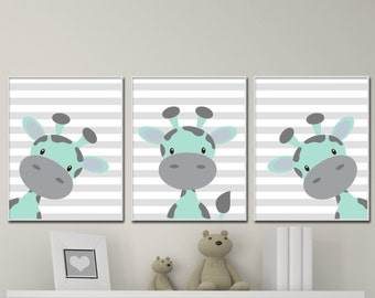 Baby Boy Nurser Art Prints. Giraffe Nursery Wall Prints Suits Mint and Gray Nursery Decor. Colors Customizable - unframed - H219