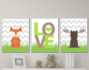 Baby Woodland Nursery Art, Includes Fox and Moose, Suits Green And Brown Bedroom Decor - H1050