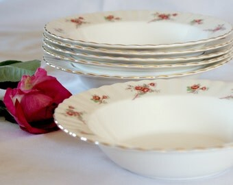 Free Shipping!!! Set of Six Richmond Bone China,Rimmed Soup/Pudding Bowls, Pattern 'Rose Time'  Bridal Shower Gift