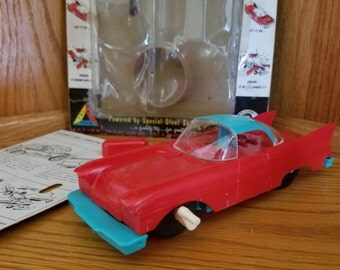 """1960s Tri-Play Crashmobile 7"""" Wind Up Car with original package, instructions"""