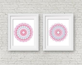 Bright wall art set of 2 prints wedding gift set mandala posters coral and aqua decor white pink bedroom decor hippie boho room decor art