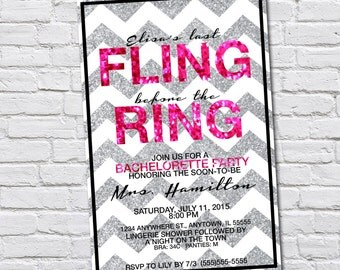 Custom Last Fling Before the Ring Bachelorette Party Invitation
