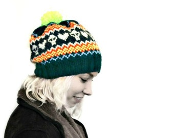 Knitted Hat - Fair Isle Hat - Bobble Hat - Vegan Hat - Hat For Women - Hat for Men - Winter Hat
