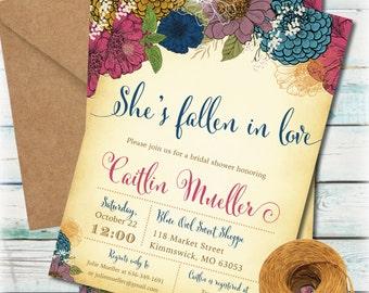 Printable Fall Bridal Shower Invitation   DIY Autumn Bridal Shower Invitation