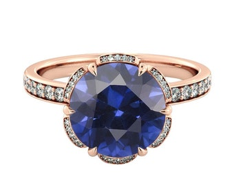 14K Rose Gold 2.00 ctw Blue Sapphire Engagement Ring with Diamonds Flower Vintage Halo