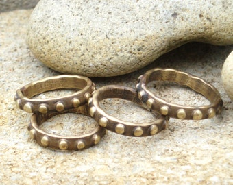 DOT BRASS RINGS, Solid Brass please order by size.