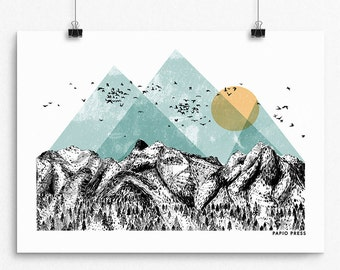 The Mountains - A3 Artists Print