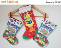 ON SALE Christmas sock stocking gift bag vintage red green white yellow blue teddy bear chicken quilting children kid baby girl boy cotton