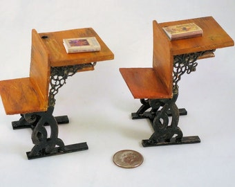 Antique schoolroom student's desk with inkwell, classroom furniture. 12 inch dollhouse scale miniature. Handmade USA.