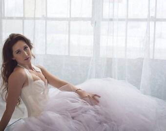 White Wedding Dress  - Tulle Dress - Full Skirt - Gown - Bridesmaid - White Dress - White Tulle Skirt - White Dress - Tutu Dress -Tulle Gown