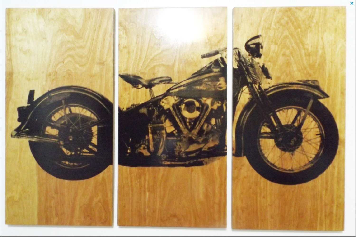 xl knucklehead motorcycle screen print wood painting wall art. Black Bedroom Furniture Sets. Home Design Ideas