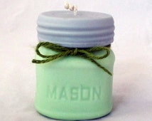 Mason Jar Candle, pillar candle, soy wax candle, scented soy candle, Ball Mason pillar, handmade candle, half pint mason jar, unique candle