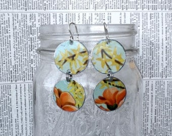 Upcycled tin flower earrings made from a vintage tin