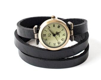 Black Leather Wrap Watch