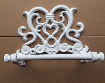 Toilet paper wall holder, white, cast iron, scroll design