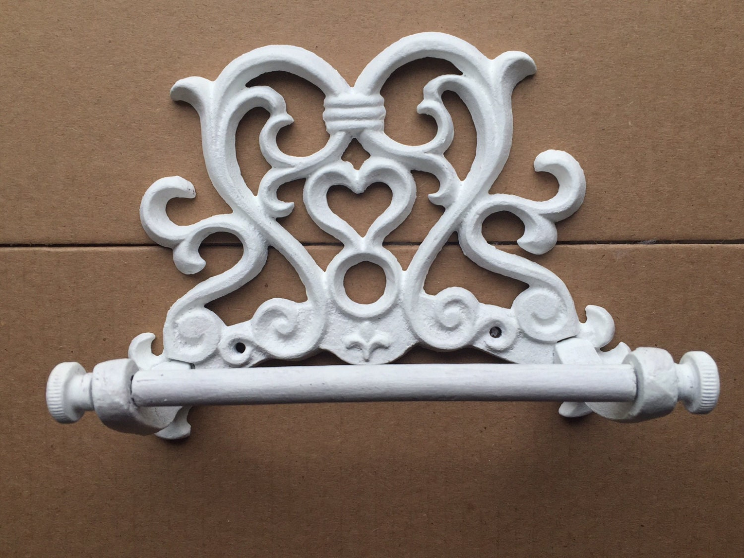 Toilet Paper Wall Holder White Cast Iron Scroll Design