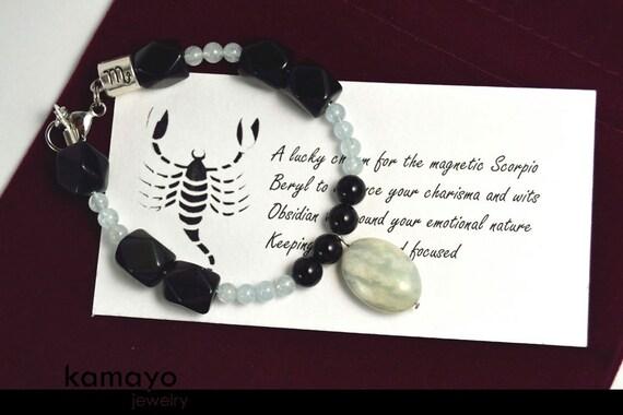 "SCORPIO BRACELET - Translucent Aquamarine Pendant and Black Obsidian Beads - Fits Wrist of Up to 6"""