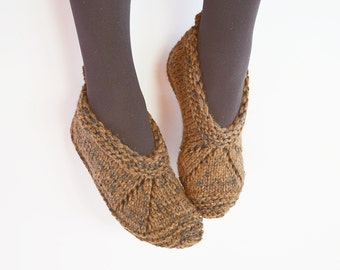 Wool Slippers, Natural Wool slippers, Hand knit wool slippers, Black - brown slippers, Ready to ship 36 - 37  EU