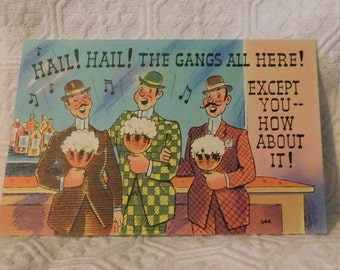 Vintage The Gangs All Here! Comic Postcard