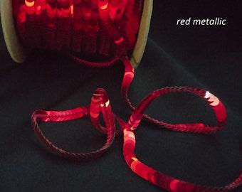 red metallic sequin trim--stretch and non-stretch