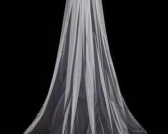 Bridal Veil Preciosa Crystal Rhinestone Chapel/ Cathedral Wedding Veil with Blusher
