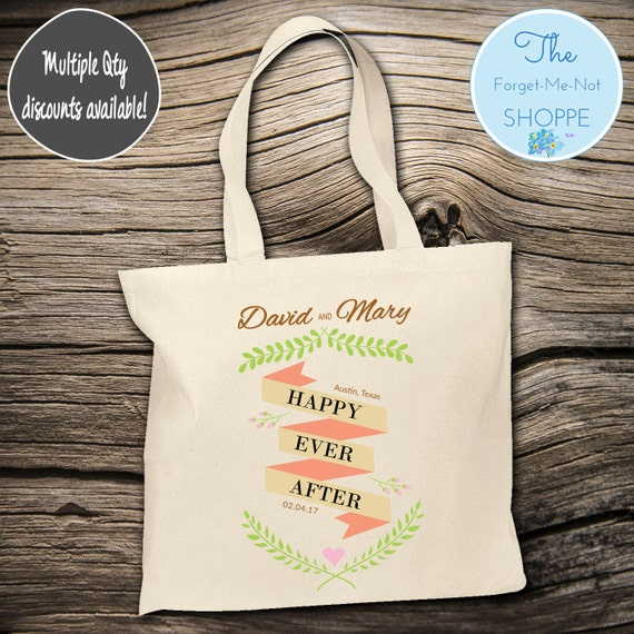 Happily Ever After Wedding Tote Bag ~ Bride to Be tote bag, Nautical,Beach Wedding,Mother tote, Wedding party tote, Wedding Favor, Gift Tote