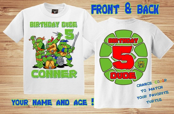 TMNT 3 Birthday Front and Back T Shirt Personalized - Teenage Mutant Ninja Turtles
