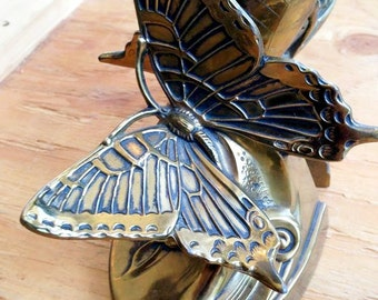 Pair of Brass Butterfly Book Ends