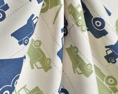 one pair of blue and green truck curtains