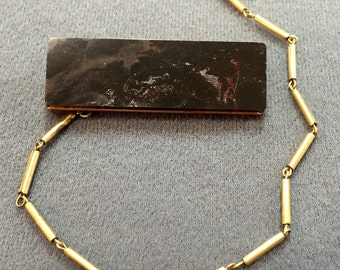 Antique Hardstone Bar Brooch with Chain-Free shipping
