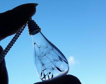 Dandelion Necklace, Dandelion Seed Necklace, wishing necklace