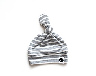 Gray and white stripe baby top knot beanie