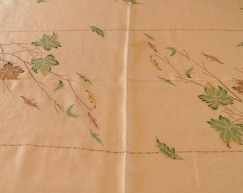 Tablecloth and napkin set, hand embroidered, leaf pattern.