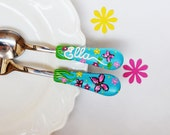 Butterfly Baby Girl Gift Cute Cutlery Set for Toddler Summer Theme Unique for Kids Present Polymer clay Blue Red Pink Party Silverware
