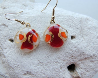 Fused glass one of a kind gold,red,orange earrings,beautiful dangle earrings for her