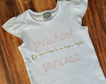 Preschool Princess Shirt, Back To School Shirt, Back To School Outfit, First Day of School Shirt, 1st day of school shirt