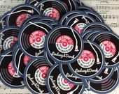 Wedding/ Party Round Card Drinks Tokens - Vinyl Record Inspired Design