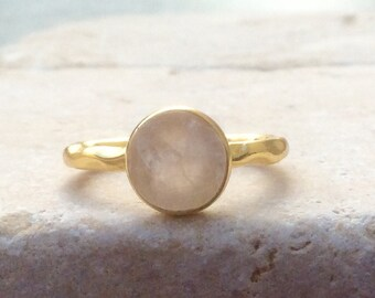 US 7.75, Raw Rose Quartz Ring, Raw Stone Gold Ring, Rough Natural Gemstone, Rough Rose Quartz Ring, Natural Rose Quartz Gemstone Gold Rings