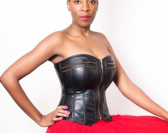 faux leather corset.