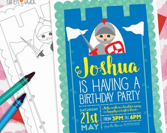5 X Personalised Fairytale PRINCESS * KNIGHT * PRINCE Birthday Party Invitation Invites Stationary