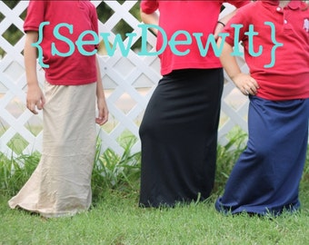Maxi Skirts Uniform Approved Kahki Tan Navy Gray Black Blue ~ Convo for Custom Order