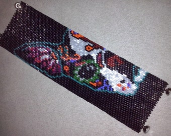 SALE HALF OFF Instant Download Beading Pattern Peyote Stitch Bracelet Day of The Dead Dog Seed Bead Cuff