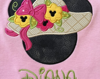 Minnie Mouse Sunbonnet  on a Light Pink Tee. Inspired by Minnie Mouse and Disney.