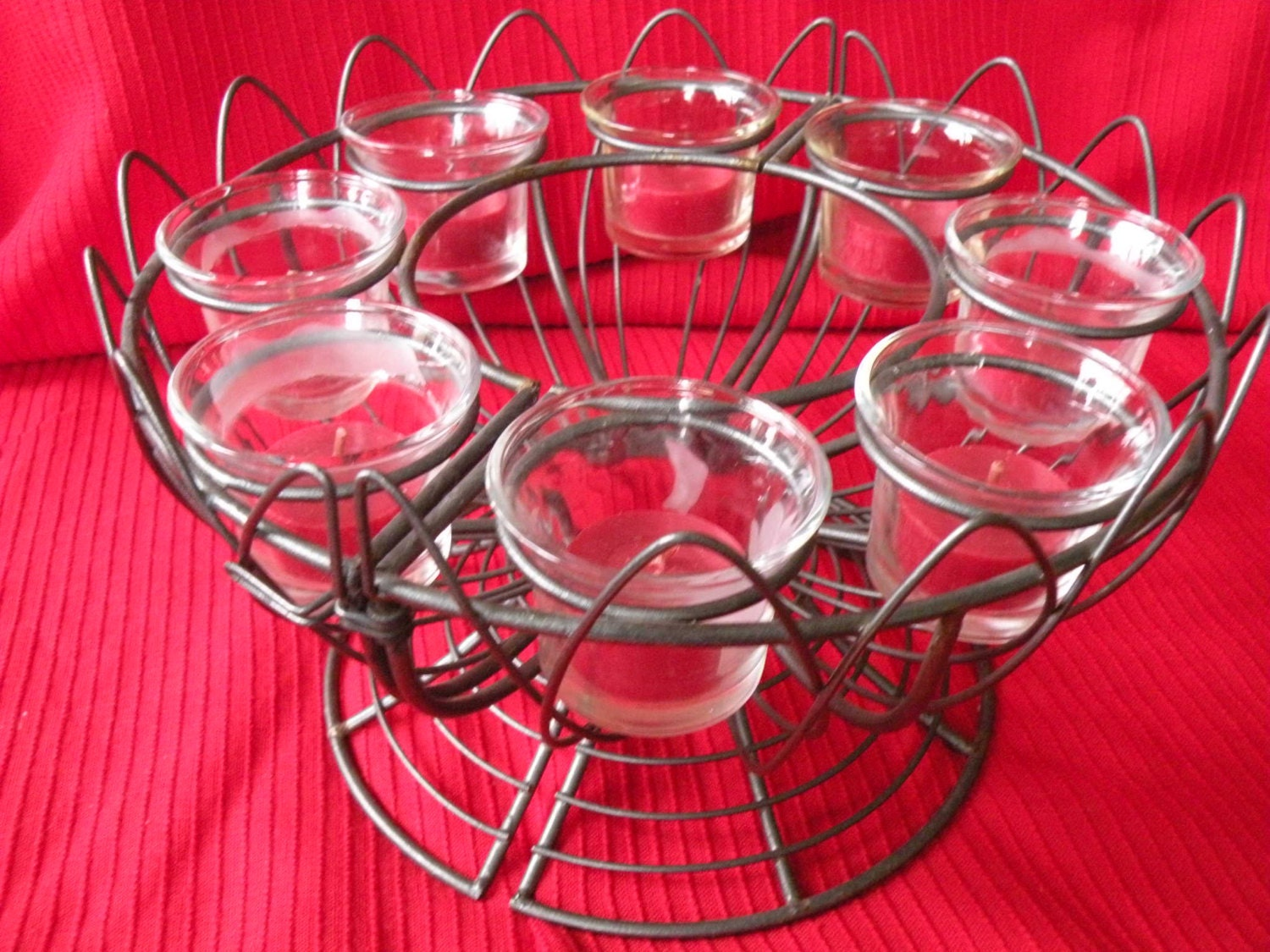 Wire candle holder centerpiece candles votive cup home